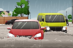 vehicle fallen to flood